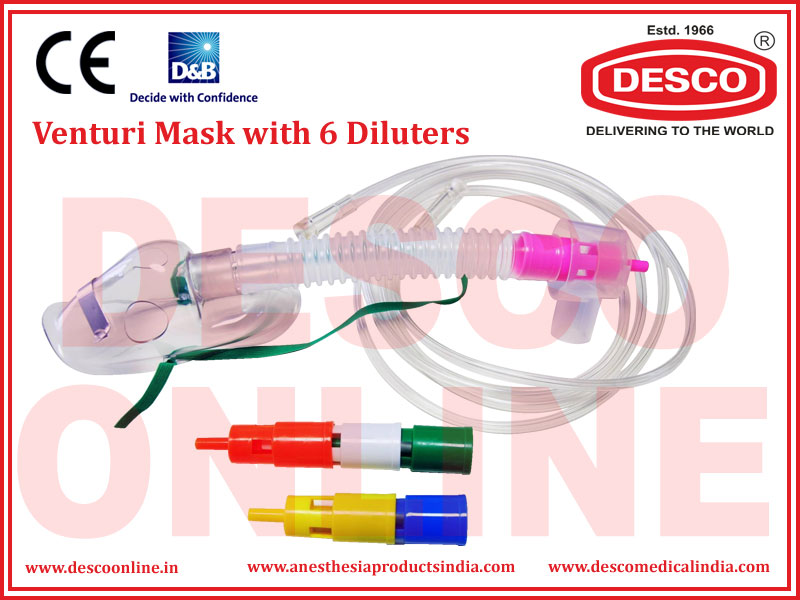 VENTURI MASK WITH 6 DILUTERS