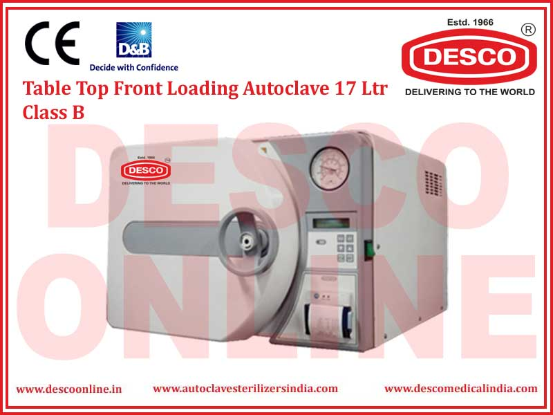 TABLE TOP FRONT LOADING AUTOCLAVE 17 LTR CLASS B