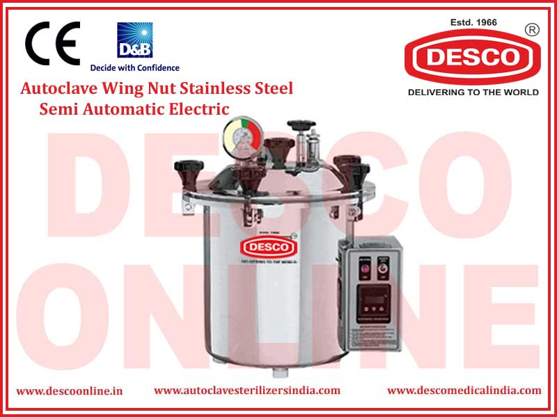 AUTOCLAVE WING NUT STAINLESS STEEL SEMI AUTOMATIC ELECTRIC