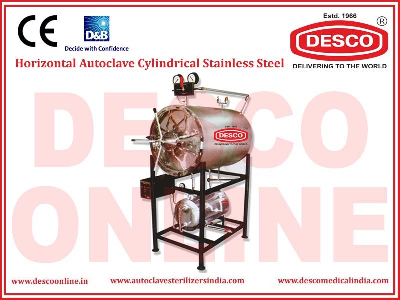 HORIZONTAL AUTOCLAVE CYLINDRICAL STAINLESS STEEL