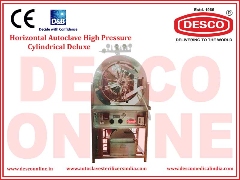 HORIZONTAL AUTOCLAVE HIGH PRESSURE CYLINDRICAL DELUXE