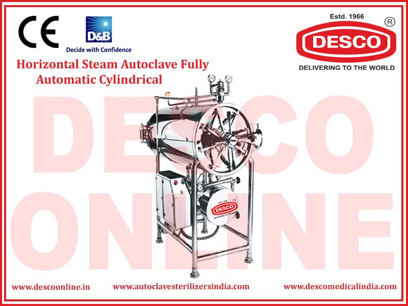 HORIZONTAL STEAM AUTOCLAVE FULLY AUTOMATIC CYLINDRICAL