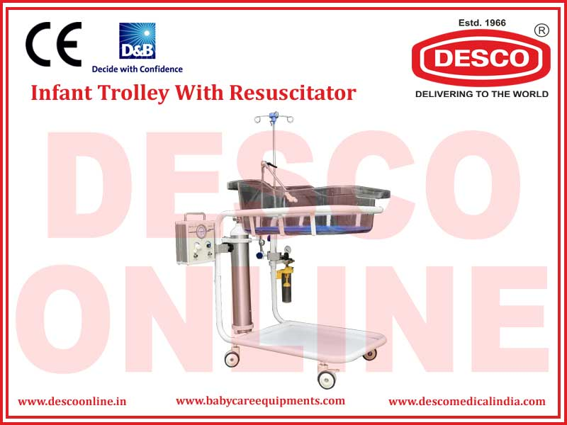 INFANT TROLLEY WITH RESUSCITATOR