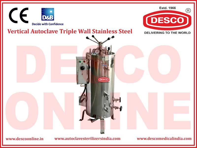 VERTICAL AUTOCLAVE TRIPLE WALL STAINLESS STEEL